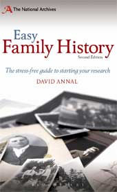 The front cover of the second edition of Easy Family History by David Annal - out now.