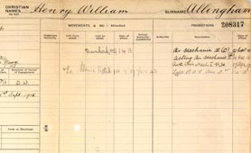 Record of Henry W Allingham (Reference AIR 79/1873).