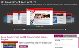 UK Government Web Archive screenshot