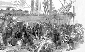 Drawing of people embarking at Liverpool dock (catalogue reference: ZPER 34/17)