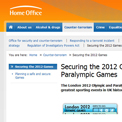 Home Office Securing the 2012 Games - archived website