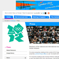 London 2012 Media centre website
