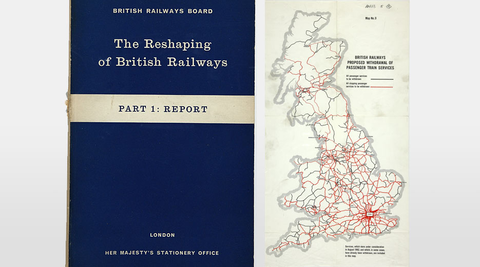 Cover of the report, and a map showing the proposed cuts, 1963