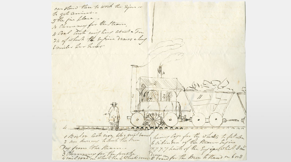 Sketch by Leighton Dalrymple of the Middleton Railway colliery locomotive 'Salamanca', 1812.