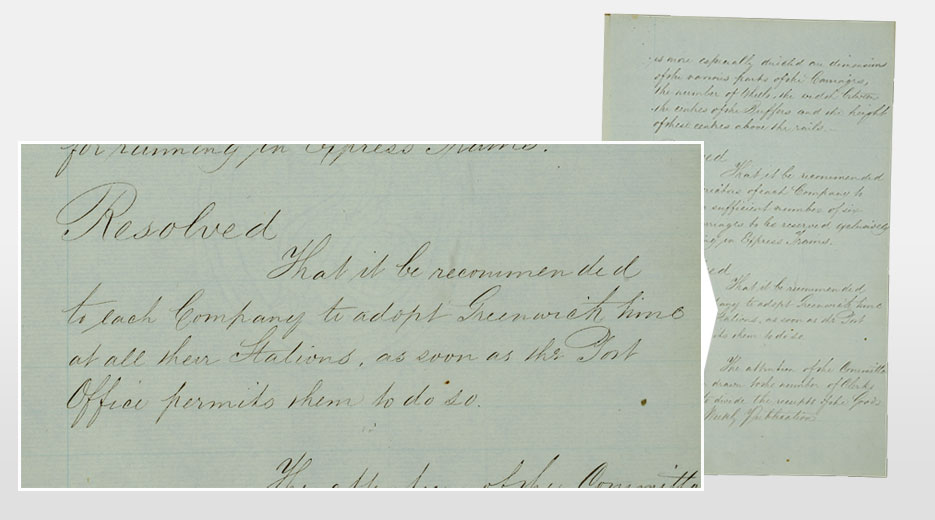 Minute confirming the decision to introduce GMT from the minute book of the Railway Clearing House, 1847