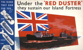 Second World War poster showing merchant navy flag, the Red Ensign (catalogue reference: INF 3/127)