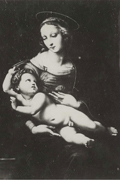 Catalogue reference: T 209/31, looted art. Photograph of a version of Raphael 'Virgin with Child' by unknown artist