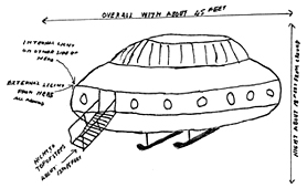 Sketch made by member of the public after alleged UFO sighting in 1985 (Catalogue reference: DEFE 25/1925)