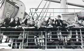 Photograph of children being taken to New Zealand by boat, c.1940 (Catalogue reference: DO 131/15)