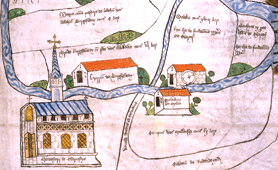 Section of medieval cartulary showing Chertsey Abbey, c.1432 (Catalogue reference: E 164/25)