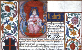 Portrait of Elizabeth I on illuminated indenture (Catalogue reference: E 36/277)
