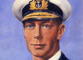 Section of painting of King George VI in Royal Marines officer's uniform (Catalogue reference: INF 3/78)