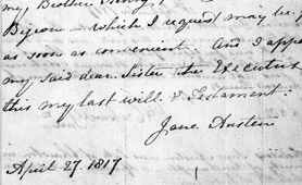 Copy of section of Jane Austen's will (Catalogue reference: PROB 11/1596)