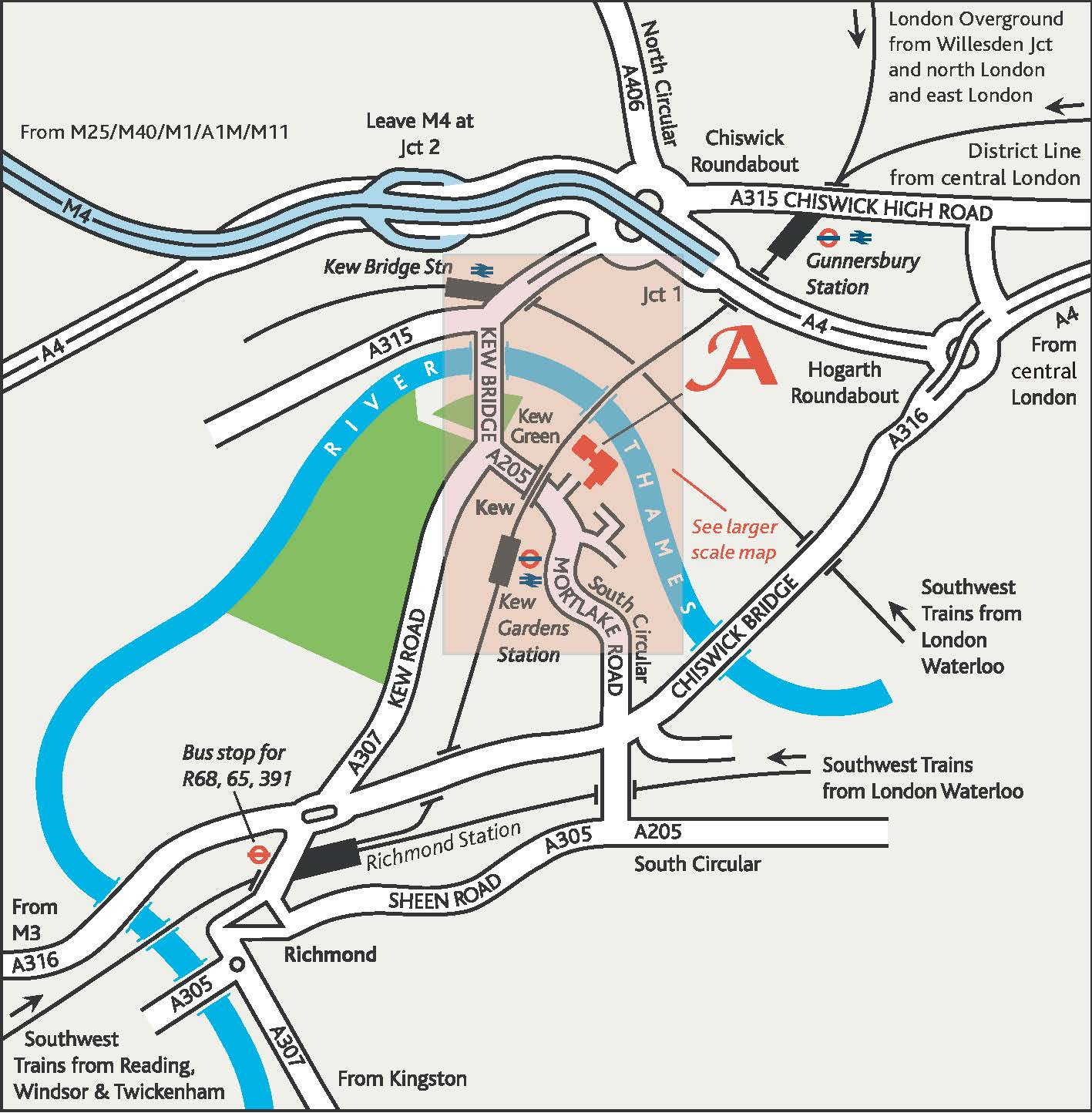 A map of our wider area, showing our transport links.